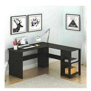 SHW Cyrus L Desk with Shelves, Espresso